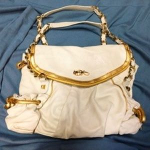 Betsey Johnson White Leather Bag with Gold Accents